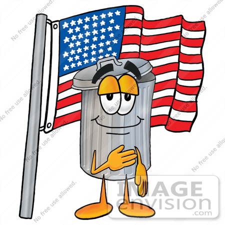 #26524 Clip Art Graphic of a Metal Trash Can Cartoon Character Pledging Allegiance to an American Flag by toons4biz