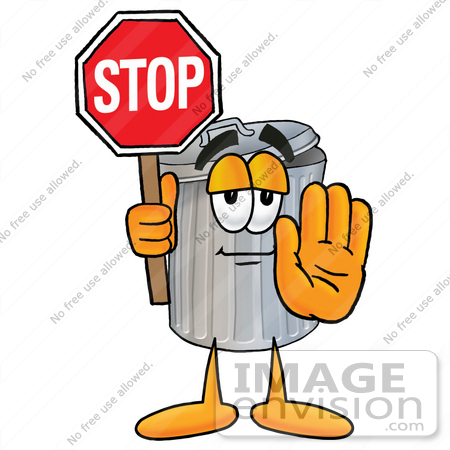 #26567 Clip Art Graphic of a Metal Trash Can Cartoon Character Holding a Stop Sign by toons4biz