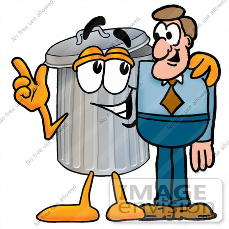 clip art graphic of a metal trash can cartoon character talking to a rh imageenvision com