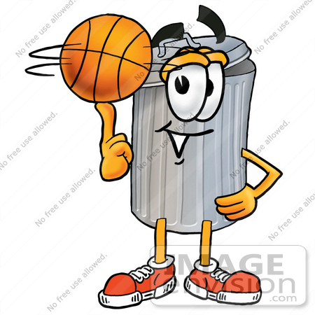 #26576 Clip Art Graphic of a Metal Trash Can Cartoon Character Spinning a Basketball on His Finger by toons4biz