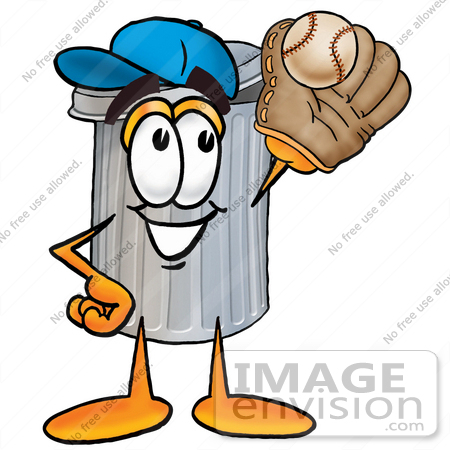#26577 Clip Art Graphic of a Metal Trash Can Cartoon Character Catching a Baseball With a Glove by toons4biz
