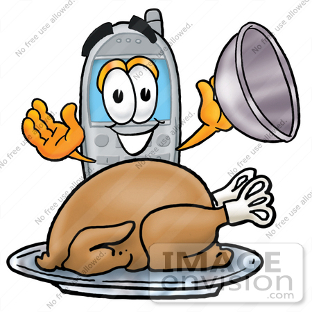 #26585 Clip Art Graphic of a Gray Cell Phone Cartoon Character Serving a Thanksgiving Turkey on a Platter by toons4biz