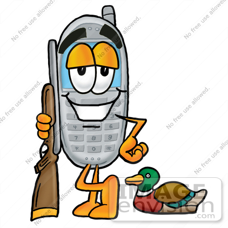 #26588 Clip Art Graphic of a Gray Cell Phone Cartoon Character Duck Hunting, Standing With a Rifle and Duck by toons4biz