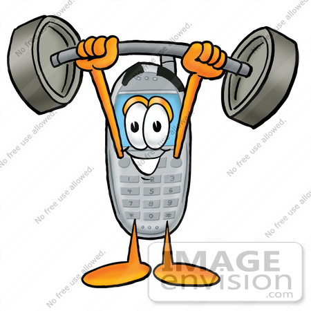 #26595 Clip Art Graphic of a Gray Cell Phone Cartoon Character Holding a Heavy Barbell Above His Head by toons4biz