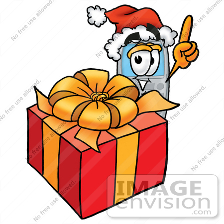 #26603 Clip Art Graphic of a Gray Cell Phone Cartoon Character Standing by a Christmas Present by toons4biz