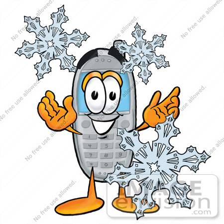 #26623 Clip Art Graphic of a Gray Cell Phone Cartoon Character With Three Snowflakes in Winter by toons4biz