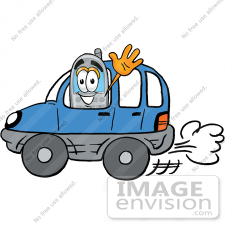 #26627 Clip Art Graphic of a Gray Cell Phone Cartoon Character Driving a Blue Car and Waving by toons4biz