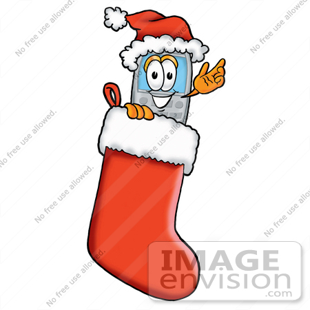 #26638 Clip Art Graphic of a Gray Cell Phone Cartoon Character Wearing a Santa Hat Inside a Red Christmas Stocking by toons4biz