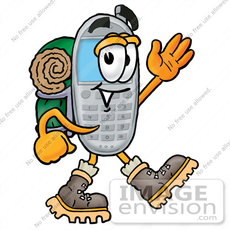 #26639 Clip Art Graphic of a Gray Cell Phone Cartoon Character Hiking and Carrying a Backpack by toons4biz