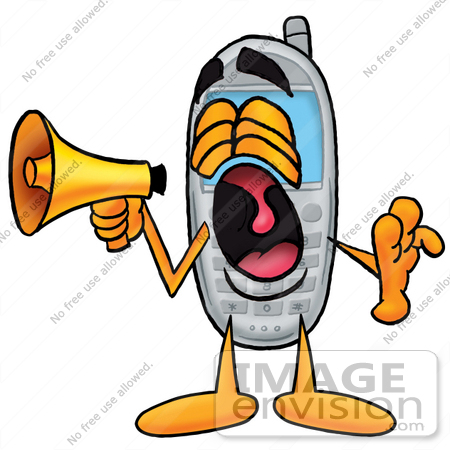 #26645 Clip Art Graphic of a Gray Cell Phone Cartoon Character Screaming Into a Megaphone by toons4biz