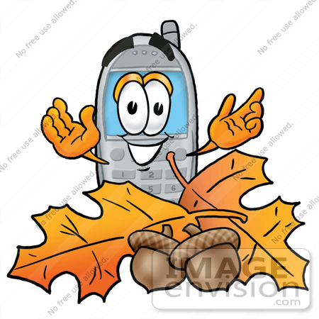 #26658 Clip Art Graphic of a Gray Cell Phone Cartoon Character With Autumn Leaves and Acorns in the Fall by toons4biz