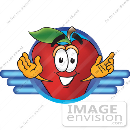 #26663 Clip art Graphic of a Red Apple Cartoon Character Logo by toons4biz