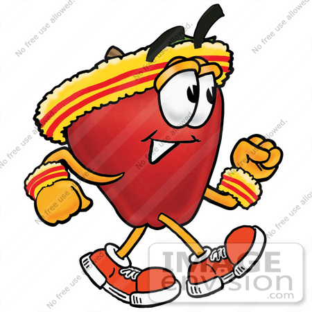 #26665 Clip art Graphic of a Red Apple Cartoon Character Speed Walking or Jogging by toons4biz
