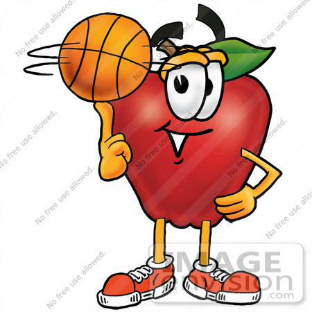#26666 Clip art Graphic of a Red Apple Cartoon Character Spinning a Basketball on His Finger by toons4biz
