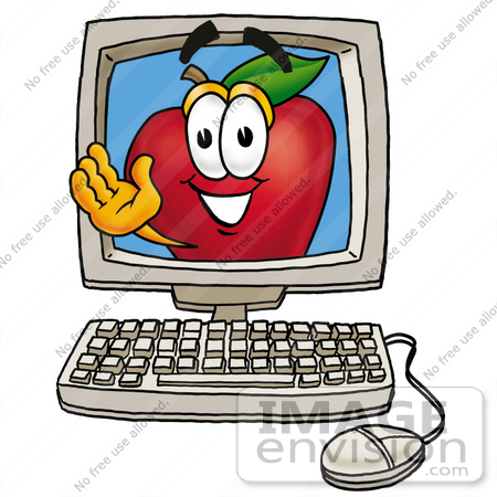 #26670 Clip art Graphic of a Red Apple Cartoon Character Waving From Inside a Computer Screen by toons4biz