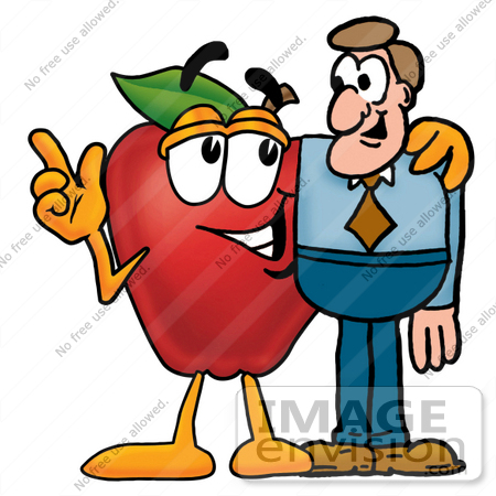 #26674 Clip art Graphic of a Red Apple Cartoon Character Talking to a Business Man by toons4biz