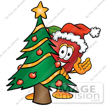 #26675 Clip art Graphic of a Red Apple Cartoon Character Waving and Standing by a Decorated Christmas Tree by toons4biz