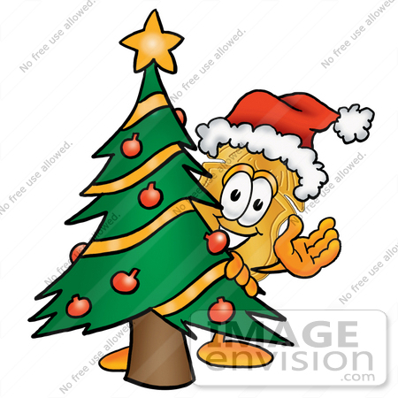 #26680 Clip art Graphic of a Gold Law Enforcement Police Badge Cartoon Character Waving and Standing by a Decorated Christmas Tree by toons4biz