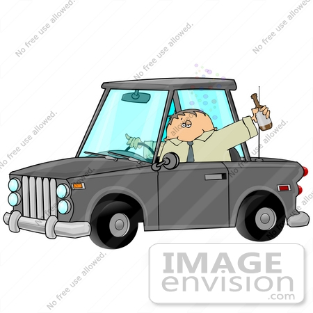 #26717 Alcoholic Man Drinking Beer While Drunk Driving Clipart by DJArt