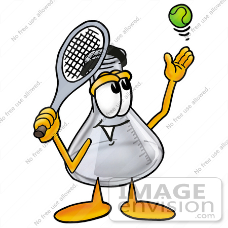 #26723 Clip art Graphic of a Beaker Laboratory Flask Cartoon Character Preparing to Hit a Tennis Ball by toons4biz