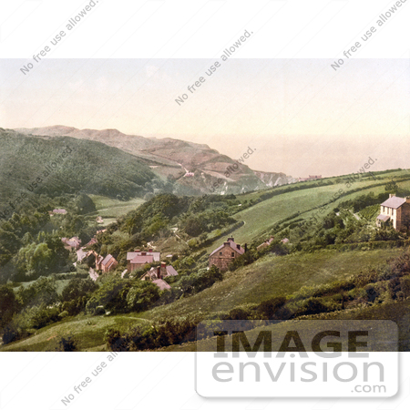 #26783 Stock Photography of Hillside Homes in Lee Devon England by JVPD