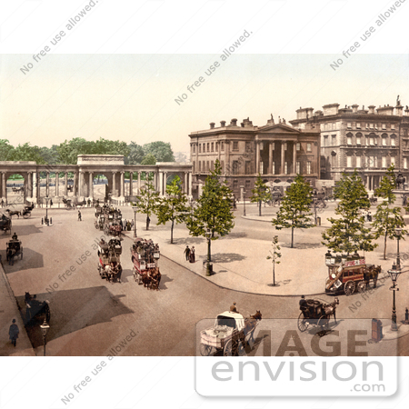 #26803 Stock Photography of Double Decker Horse Drawn Carriages in Hyde Park Corner London England UK by JVPD