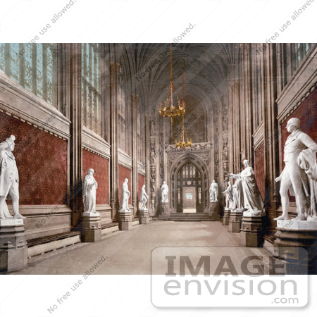 #26851 Stock Photography of the Interior of St Stephen's Hall With Statues in the Houses of Parliament London England UK by JVPD