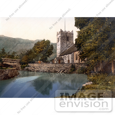 #26869 Stock Photography of the St Oswald's Church on the Waterfront in Grasmere Lake District Cumbria England UK by JVPD