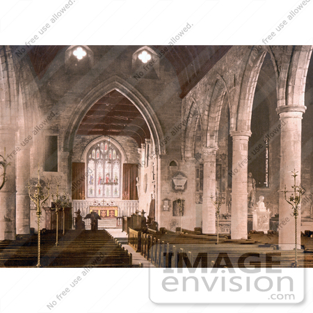 #26896 Stock Photography of Pews And The Stained Glass Windows In The Interior Of The St Mary's Church In Ross-On-Wye Herefordshire England UK by JVPD