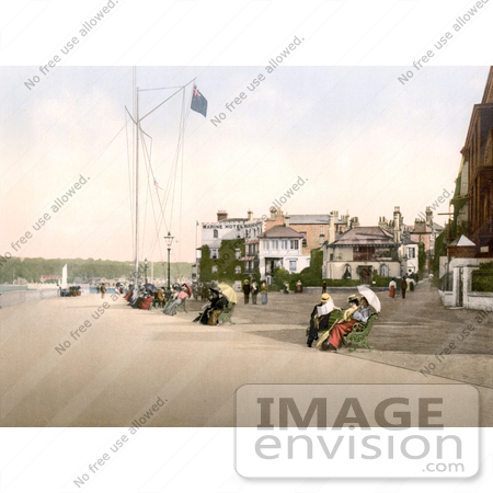 #26921 Stock Photography of People Sitting on Benches Near the Marine Hotel in Cowes Isle of Wight England UK by JVPD