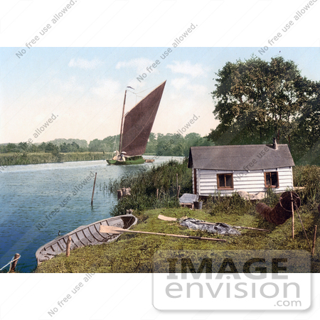 #26924 Stock Photography of Sailboat on the Bure River Near a Hut in Norfolk England by JVPD