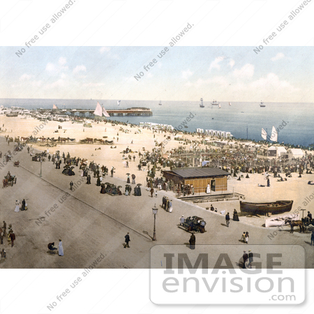 #26936 Stock Photography of People on the Beach Promenade Near Britannia Pier in Yarmouth Isle of Wright England UK by JVPD