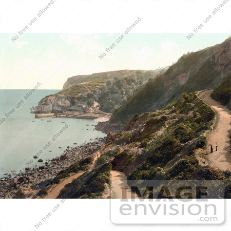#26948 Stock Photography of People Walking on a Road Above Babbacombe Beach in Torquay Torbay Devon England UK by JVPD
