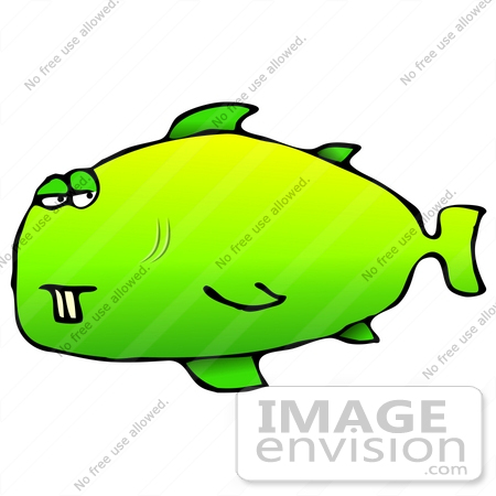 #26954 Goofy Green Fish With Two Front Buck Teeth Clipart Graphic by DJArt