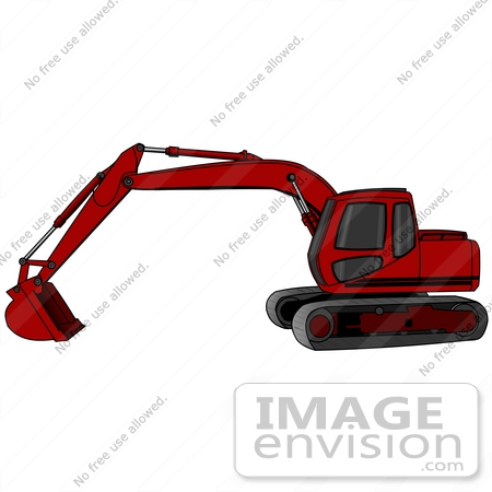 #26966 Red Trackhoe Tractor Working At A Construction Site Clipart Graphic by DJArt