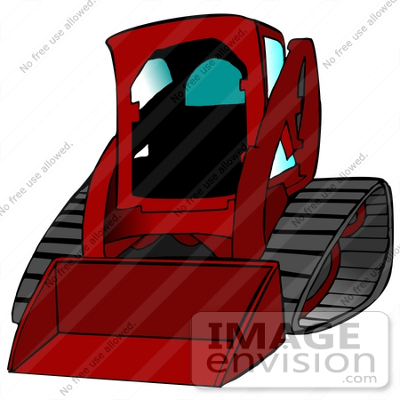 26967 red bobcat skid steer loader tractor working at a construction