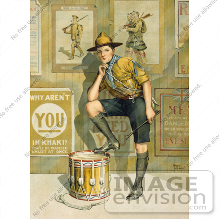 #27010 Stock Photography of A Vintage World War I Poster Showing A Young Man In Uniform, Resting One Leg On A Drum In Front Of A Wall Displaying Enlistment Posters By The Parliamentary Recruiting Committee by JVPD