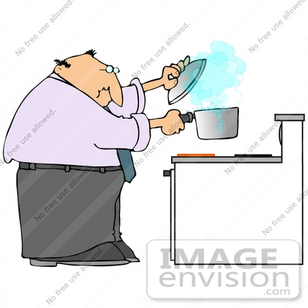 Man Lifting A Pot Off Of A Burner To Try To Stop A Boil Over While ...