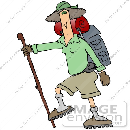 27044 Woman Carrying Camping Gear On Her Back And Using A Stick While Hiking Clipart