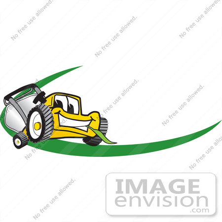 #27377 Clip Art Graphic of a Yellow Lawn Mower Mascot Character Facing Forward, Chewing On A Blade Of Grass, With A Green Dash On A Logo by toons4biz