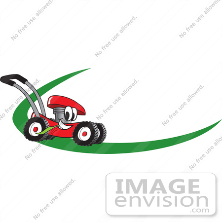 lawn mower logo. #27379 clip art graphic of a red lawn mower mascot character chewing on blade logo l