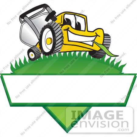 #27385 Clip Art Graphic of a Yellow Lawn Mower Mascot Character Facing Front And Chewing On A Blade Of Grass On Top Of A Grassy Hill In The Shape Of A Triangle With A Blank Label On A Logo by toons4biz