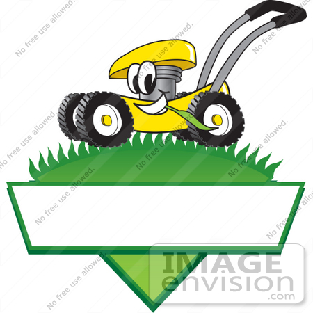 #27387 Clip Art Graphic of a Yellow Lawn Mower Mascot Character In Profile, Glancing As It Speeds Past While Chewing On A Blade Of Grass On Top Of A Grassy Hill In The Shape Of A Triangle With A Blank Label On A Logo by toons4biz
