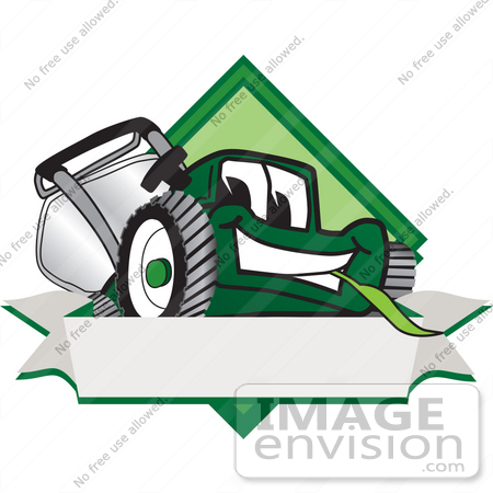 #27390 Clip Art Graphic of a Green Lawn Mower Mascot Character Facing Front of a White Banner Logo by toons4biz