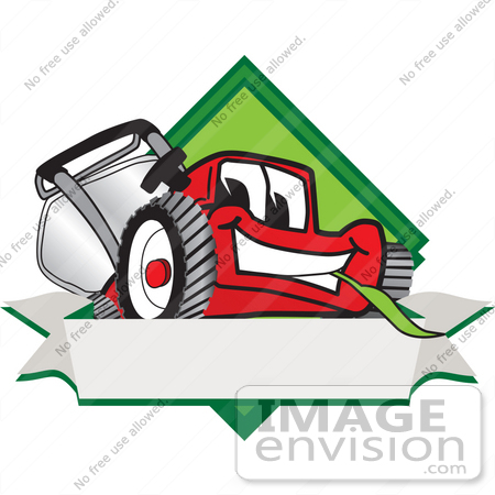 Lawn Mowing Logo Of a red lawn mower mascot