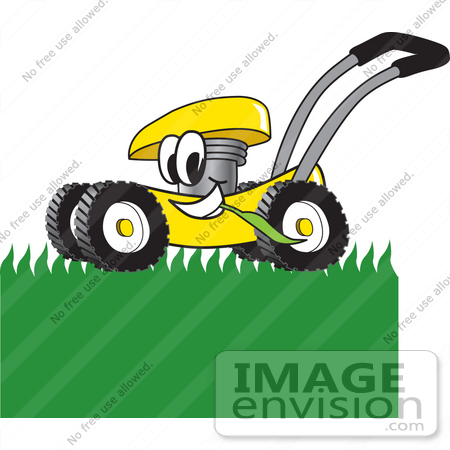 clip art graphic of a yellow lawn mower mascot character chewing on rh imageenvision com lawn mower logo clip art lawn mower logo design