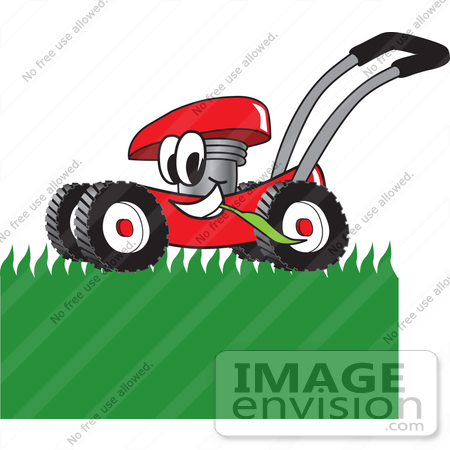 clip art graphic of a red lawn mower mascot character chewing on rh imageenvision com lawn care clipart black and white lawn care clipart black and white