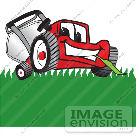#27398 Clip Art Graphic of a Red Lawn Mower Mascot Character Facing Front and Eating a Blade of Grass While Mowing a Lawn by toons4biz