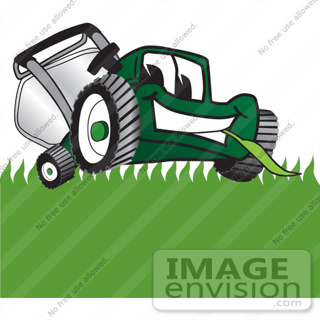 #27400 Clip Art Graphic of a Green Lawn Mower Mascot Character Facing Front and Eating a Blade of Grass While Mowing a Lawn by toons4biz