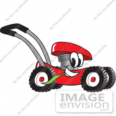 #27402 Clip Art Graphic of a Red Lawn Mower Mascot Character Glancing While Passing by and Chewing on a Blade of Grass by toons4biz